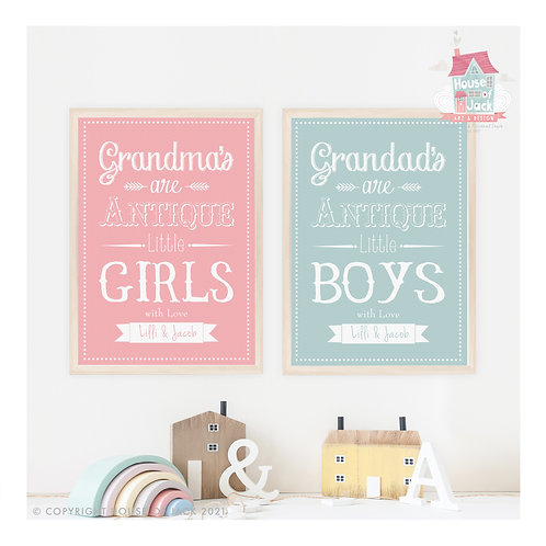 Antique Little Boys or Girls Personalised Art Print