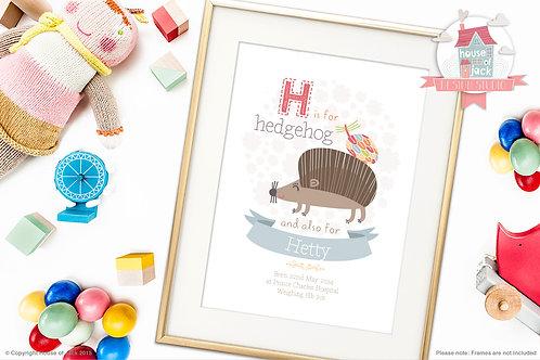 "Animal Alphabet ""H"" Personalised Art Print"