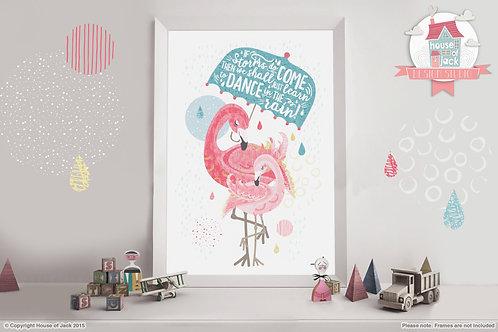 Tropical Flamingos - Art Print