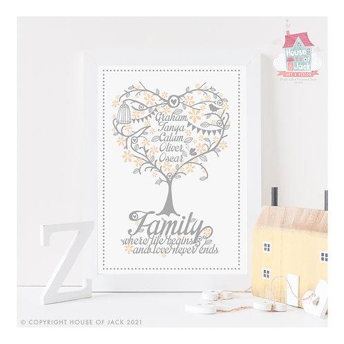 Family Tree Personalised Art Print