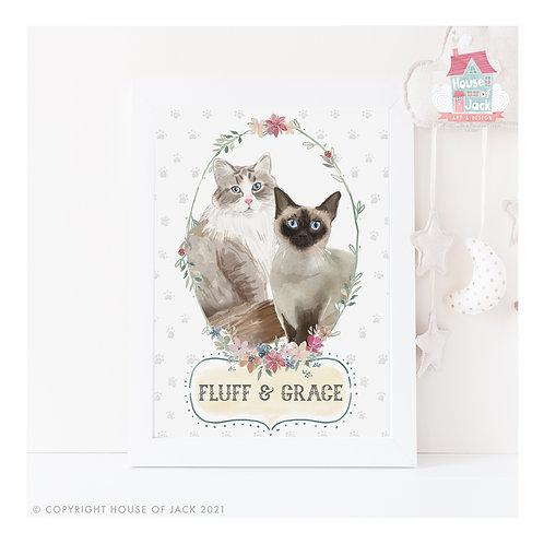 Watercolour Pet Portrait Cats