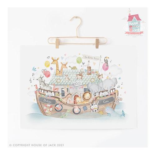 "Animal Birth Details Twins ""Noah's Ark"" Personalised Art Print"
