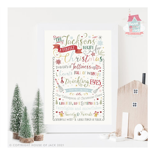 Perfect Christmas - Personalised Art Print