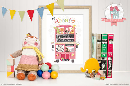 All Aboard Pink Personalised Art Print