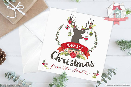 Merry Christmas Deer Personalised Greetings Card
