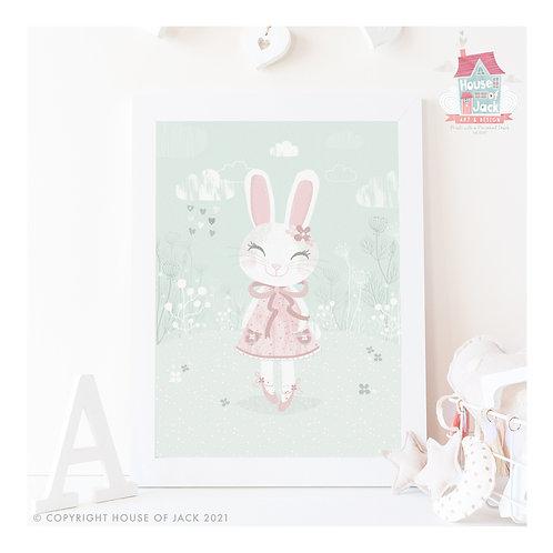 Whimsical Woodland Bunny Art Print