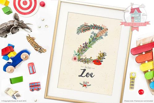"Floral Initial ""Z"" Personalised Art Print"