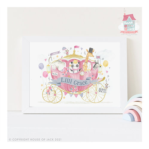 "Animal Birth Details ""Princess Carriage"" Personalised Art Print"