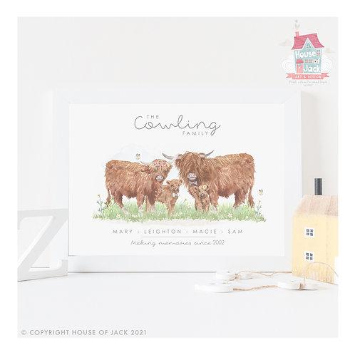 Cows Animal Family Portrait Personalised Art Print