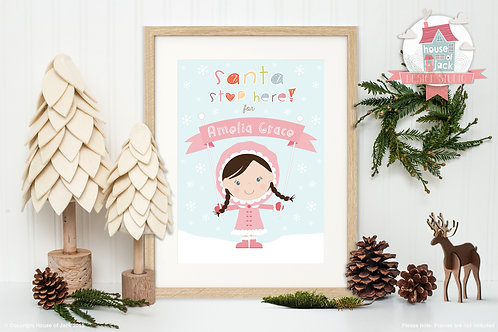 Santa Stop Here - Personalised Art Print