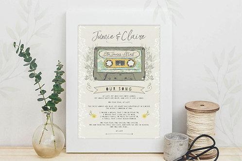Mix Tape (Family Footprints) Personalised Art Print