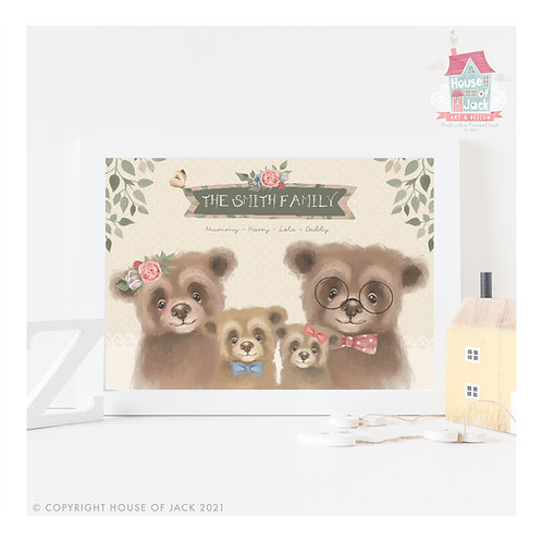 Fairy Tale Family Bears Personalised Art Print