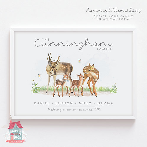 Deer Animal Family Portrait Personalised Art Print