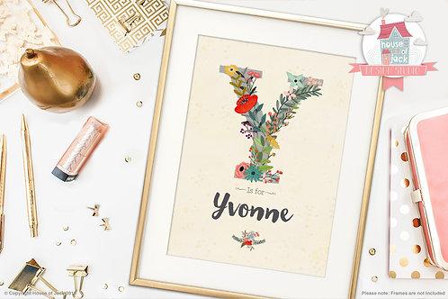 """Floral Initial """"Y"""" Personalised Art Print"""
