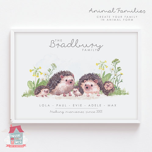 Hedgehog Animal Family Portrait Personalised Art Print
