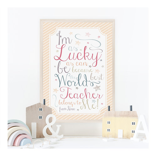 Lucky Teacher Personalised Art Print