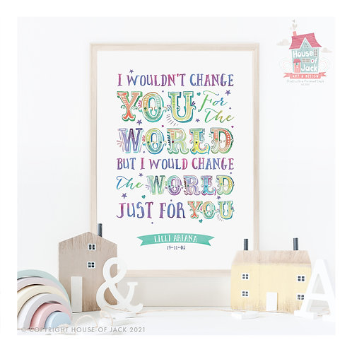 Carnival Text Change The World Personalised Art Print