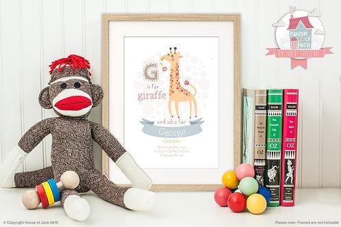 "Animal Alphabet ""G"" Personalised Art Print"