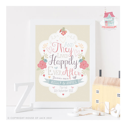 Happily Personalised Art Print