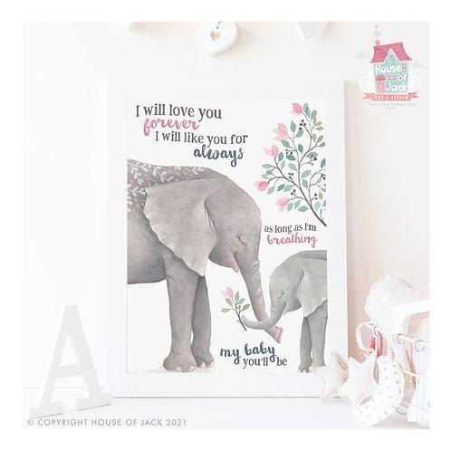 My Baby Elephant Art Print