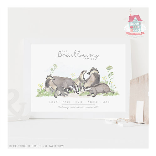 Badger Animal Family Portrait Personalised Art Print