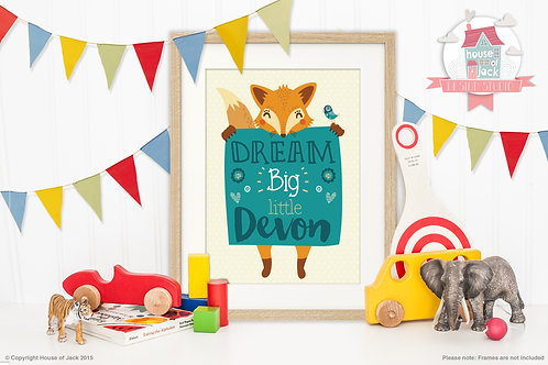 Dream Big Fox Personalised Art Print