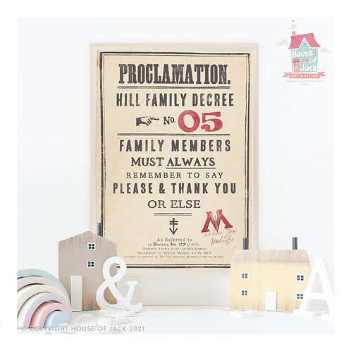 Personalised Proclamations Personalised Art Print