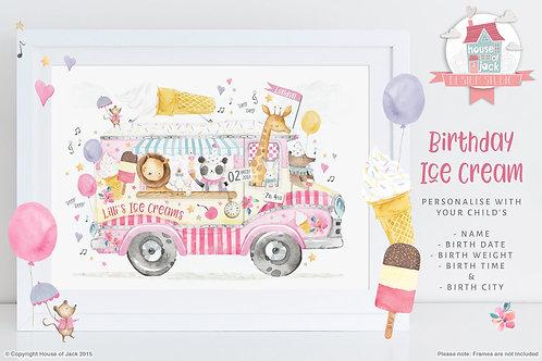 "Animal Birth Details ""Ice Cream"" Personalised Art Print"