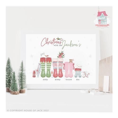 Christmas Watercolour Family Footprints