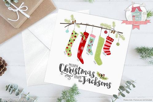 Christmas Stockings Personalised Greetings Card