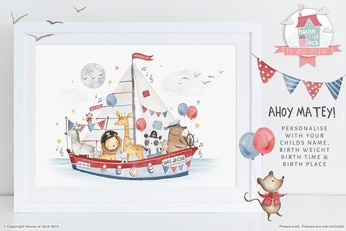 "Animal Birth Details ""Sailing Boat"" Personalised Art Print"