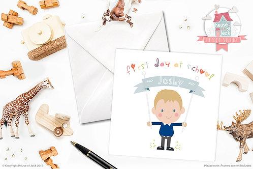 Jelly Tot School Boy Personalised Greetings Card