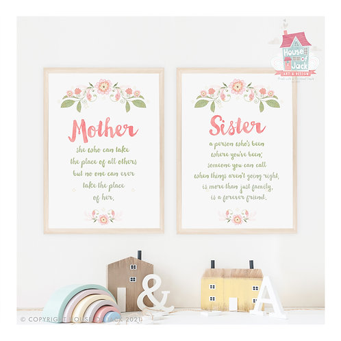A Mother or Sister Poem Personalised Art Print