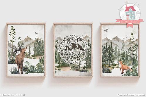 Wild Woodland Art Print Trio