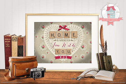 Scrabble Home Personalised Art Print
