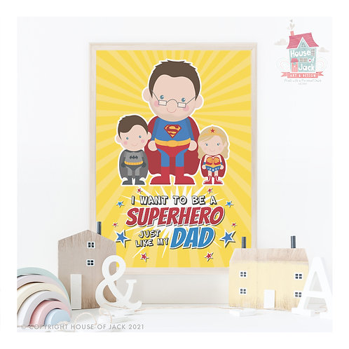 Superhero Dad Jelly Tot Personalised Portrait