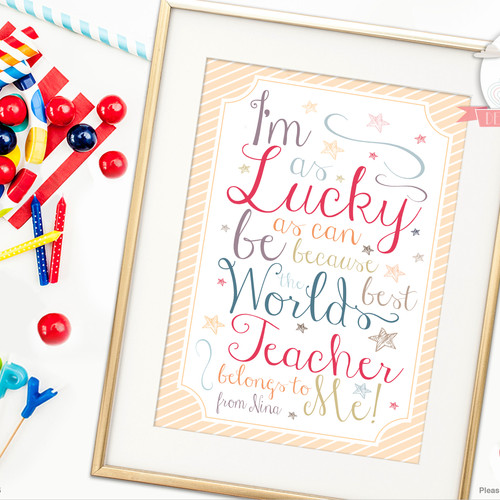 lucky teacher personalised art print - Teacher Pictures To Print