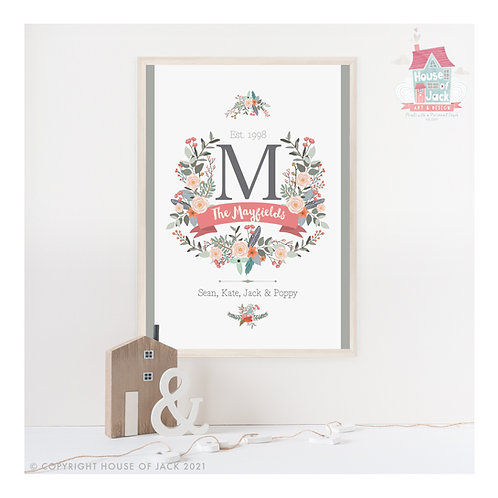 Family Crest Personalised Art Print