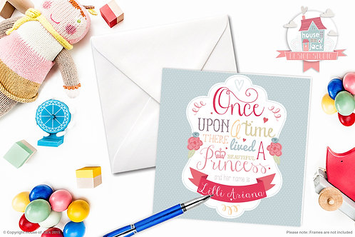 Once Upon a Princess Personalised Greetings Card