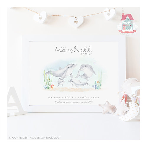 Dolphin Animal Family Portrait Personalised Art Print