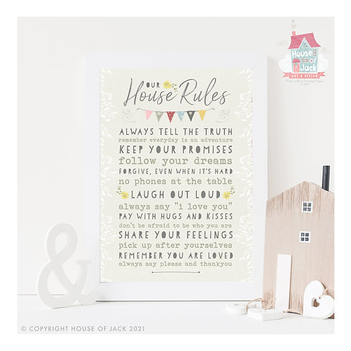House Rules (Family Footprints) Personalised Art Print