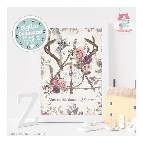 Floral Hallows Digital Art Print