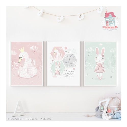 Whimsical Woodland - Personalised Art Print Trio