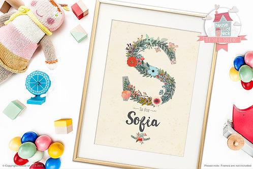 "Floral Initial ""S"" Personalised Art Print"