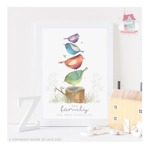Family Birds Personalised Art Print