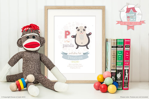 "Animal Alphabet ""P"" Personalised Art Print"