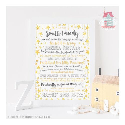 Fairytale House Rules Personalised Art Print
