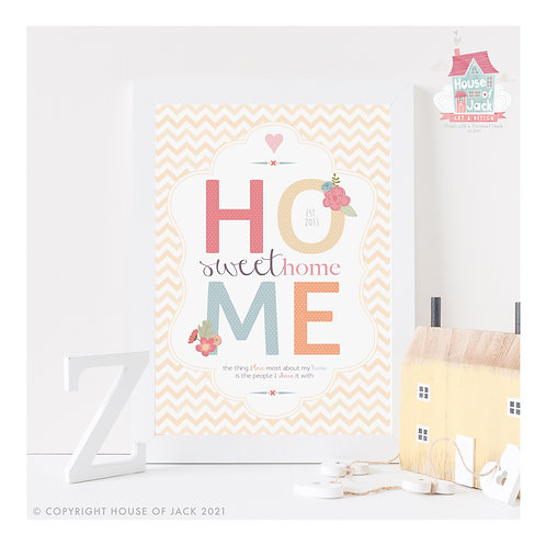 Home Sweet Home Personalised Art Print