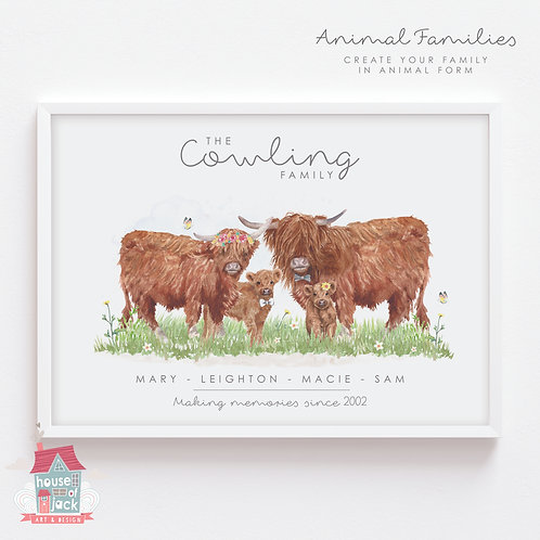 Cow Animal Family Portrait Personalised Art Print