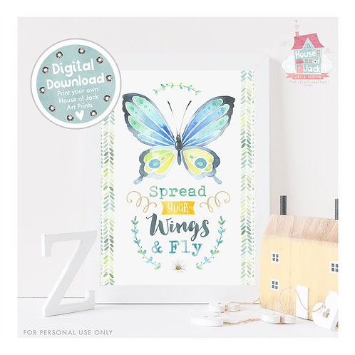 Watercolour Butterflies - Spread Your Wings Digital Art Print